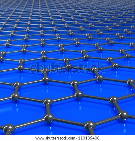 Graphene molecule structure forming a graphic or grunge blue background with limited depth of field. - stock photo