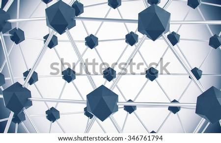 Graphene nano structure grid in the laboratory at atomic scale - stock photo