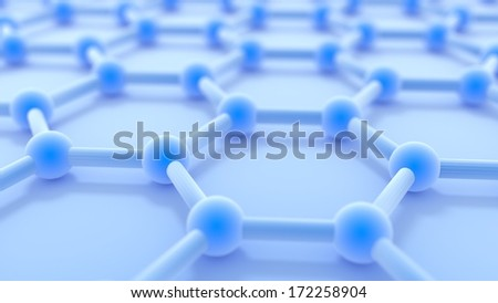 Graphene nano structure sheet in the laboratory at atomic scale - stock photo