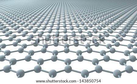 Graphene - Regular Hexagonal Pattern - 3D - stock photo