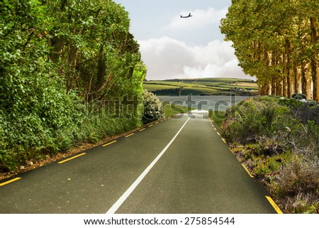 Graphic airplane against scenic backdrop - stock photo