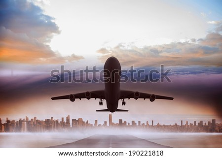 Graphic airplane flying over cityscape on the horizon