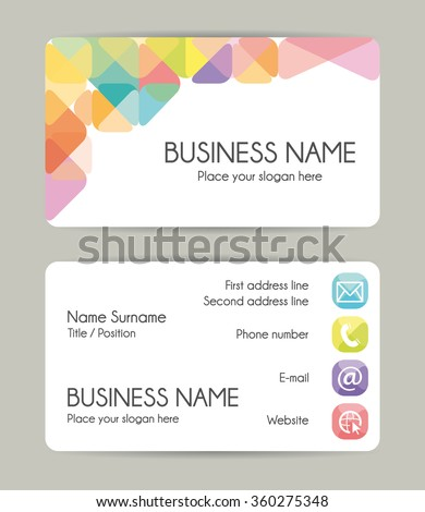 Graphic and geometric business card design. Front and back. - stock photo