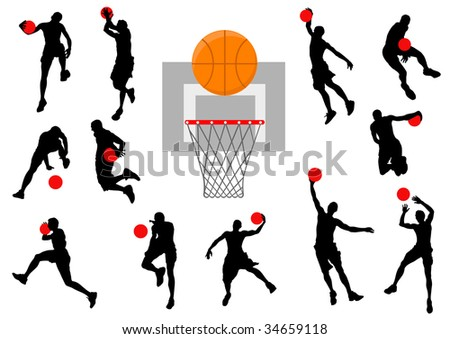 graphic basketball. Silhouette man with the ball
