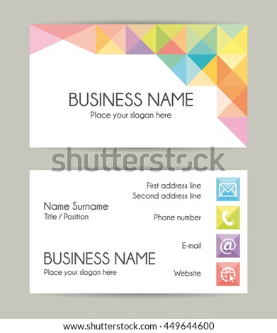 Graphic business card template. - stock photo