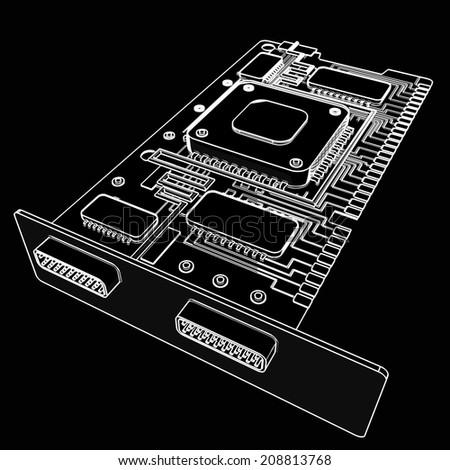 graphic card GPU. cartoon illustration outline. High resolution 3D  - stock photo