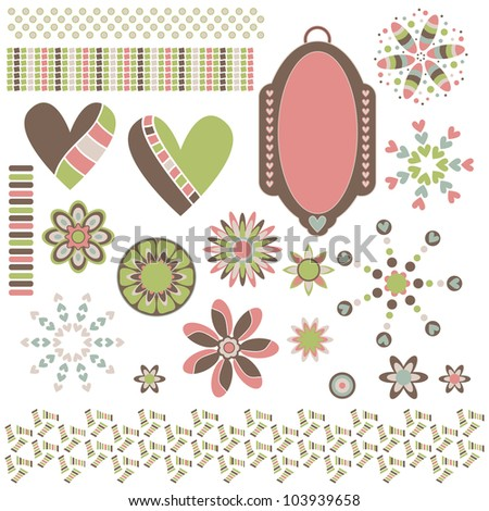 Graphic collection with hearts, ornaments, trims and tag