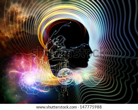 Graphic composition of human feature lines and symbolic elements to serve as complimentary design for subject of human mind, consciousness, imagination, science and creativity - stock photo
