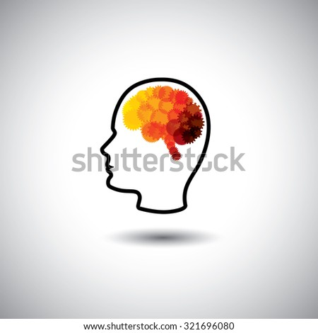 graphic concept - human face & brain with gears & cogs. This graphic of human side face also represents intelligence, complex brain, human cyborg, puzzle head, human computer, innovative brain, etc - stock photo