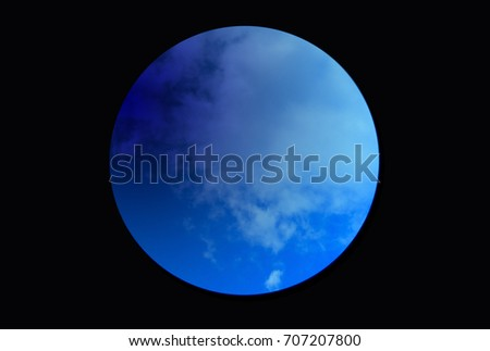 Graphic design ,Blue moon on black background