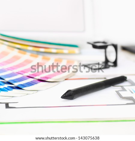 Graphic design, printing, advertising concept - stock photo