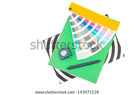 Graphic design, printing, advertising concept Printed material, digitizer pen, magnifier,pantone palette isolated on white - stock photo