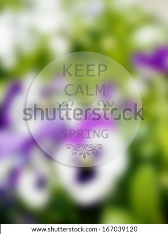 """Graphic design Spring season related with badge and inscription """"Keep Calm and Enjoy Spring"""" - stock photo"""