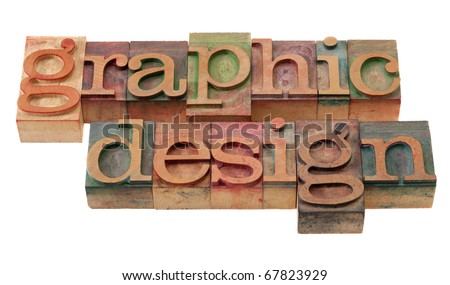 graphic design word abstract in vintage wooden letterpress printing blocks, stained by color inks, isolated on white