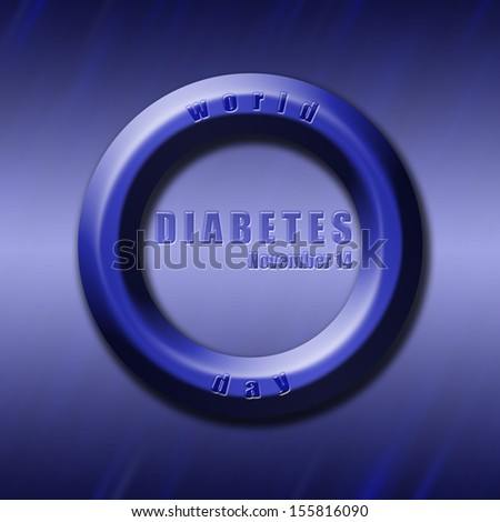 Graphic design World Diabetes Day related in shape of blue circle, diabetes symbol. - stock photo