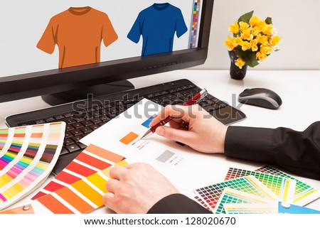 Graphic designer at work. Color samples.Illustration picture - stock photo