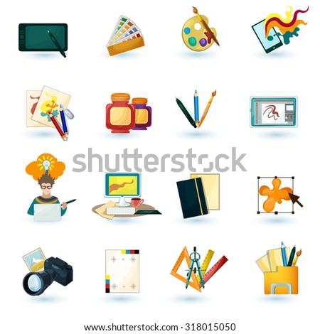 Graphic designer decorative icons set with tablet paint palette isolated  illustration - stock photo