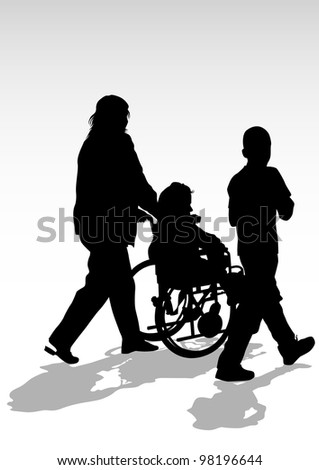 graphic disabled in a wheel chair. Silhouettes of people - stock photo