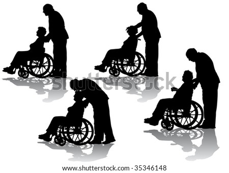 graphic disabled in a wheel chair. Silhouettes on a white background - stock photo