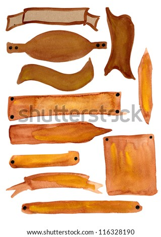 Graphic elements for designers- brown banners painted in watercolor - stock photo