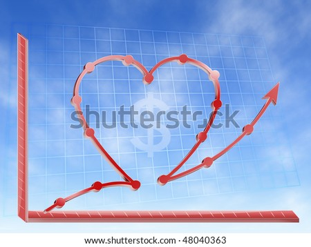 graphic financial of success other love money graphic hearth form - stock photo