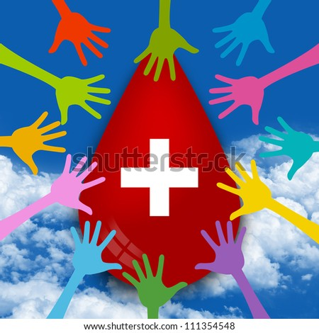 Graphic For Blood Donation Concept, Colorful Hand Around Red Blood Drop With Cross Sign in Blue Sky Background - stock photo
