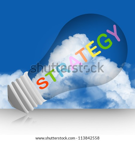 Graphic For Business and Solution Concept, Light Bulb With Colorful Strategy Text in Blue Sky Background - stock photo