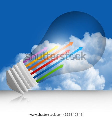 Graphic For Business Concept Present By Colorful Moving Up Arrow Inside The Light Bulb  in Blue Sky Background