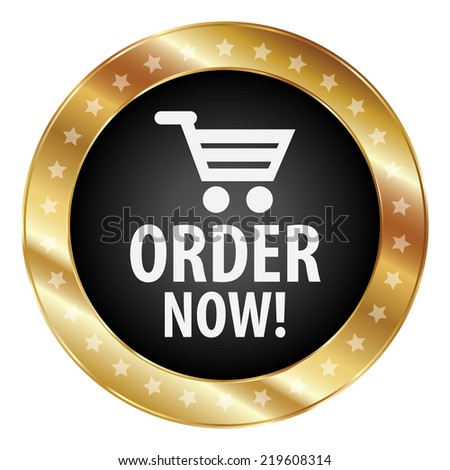 Graphic for Business, Online Business or E-Commerce Present By Black and Gold Metallic Order Now Icon, Sticker, Badge, Label or Button Isolated on White Background  - stock photo