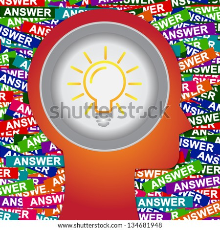 Graphic For Business Solution or Business Idea Concept Present By Red Head With Idea or Light bulb Sign Inside With Group of Colorful Answer Label Background - stock photo