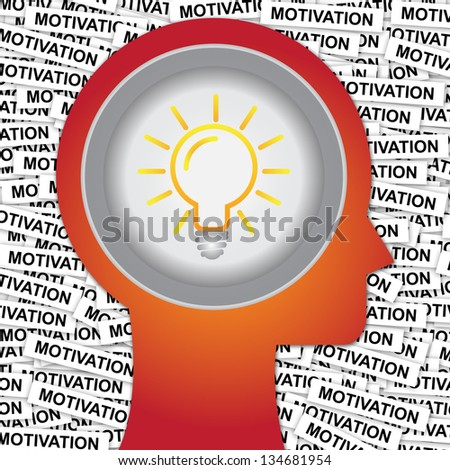 Graphic For Business Solution or Business Idea Concept Present By Red Head With Idea or Light bulb Sign Inside With Group of Motivation Label Background - stock photo