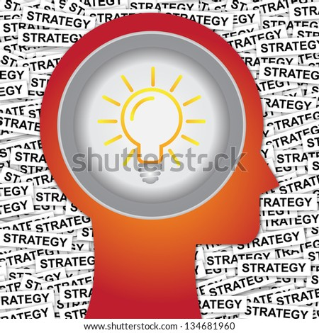 Graphic For Business Solution or Business Idea Concept Present By Red Head With Idea or Light bulb Sign Inside With Group of Strategy Label Background - stock photo