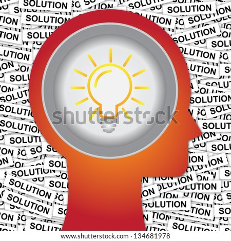 Graphic For Business Solution or Business Idea Concept Present By Red Head With Idea or Light bulb Sign Inside With Group of Solution Label Background - stock photo