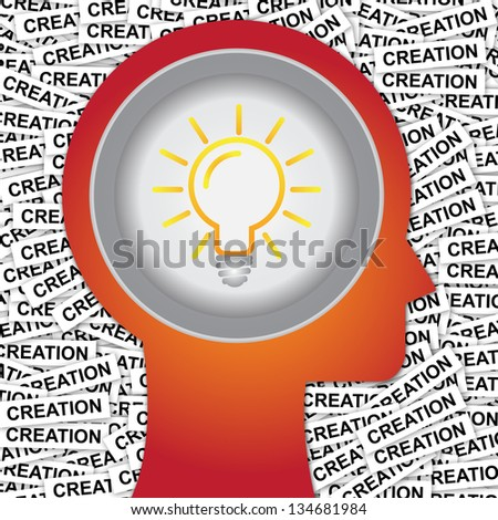 Graphic For Business Solution or Business Idea Concept Present By Red Head With Idea or Light bulb Sign Inside With Group of Creation Label Background - stock photo