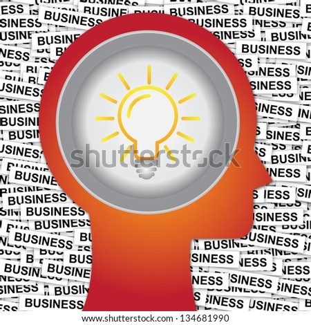 Graphic For Business Solution or Business Idea Concept Present By Red Head With Idea or Light bulb Sign Inside With Group of Business Label Background - stock photo