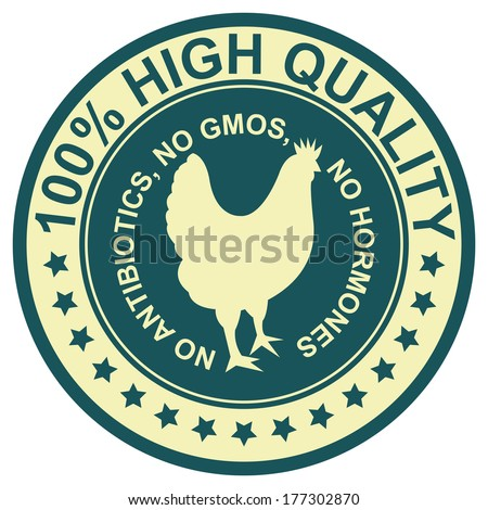 Graphic for Food Business Present By Blue Vintage Style 100 Percent High Quality No Antibiotics, No Gmos, No Hormones Stamp, Label, Sticker or Icon Isolated on White Background