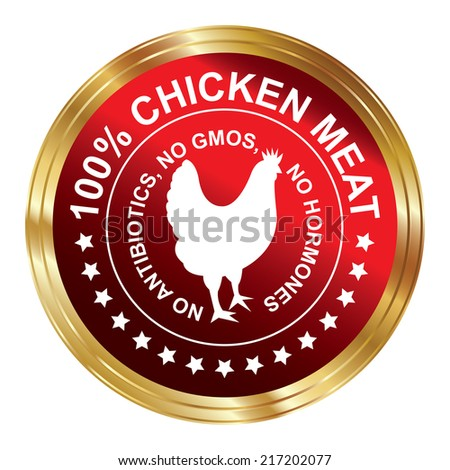 Graphic for Food Business Present By Red Metallic Style 100 Percent Chicken Meat No Antibiotics, No Gmos, No Hormones Stamp, Label, Sticker or Icon Isolated on White Background