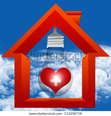 Graphic For Heart Donation Center Concept Present By The Light Bulb and The Red Heart With Cross Sign Inside The House in Blue Sky Background - stock photo