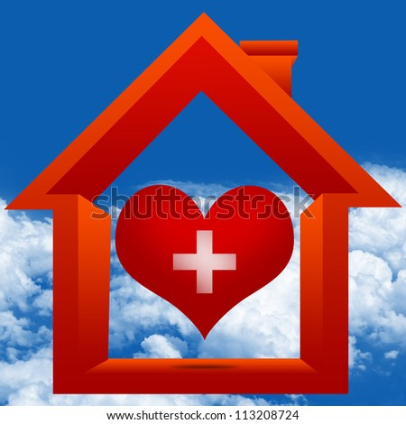 Graphic For Heart Donation Center Concept Present By The Red Heart With Cross Sign Inside The House in Blue Sky Background - stock photo