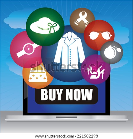 Graphic For Internet and Online Business Present By Computer Laptop With Buy Now Button on Screen and Group of Colorful Fashion Icon in Blue Sky Background  - stock photo