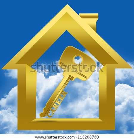 Graphic For Key to Career Concept Present By Golden Key With Career Sign Inside The House in Blue Sky Background