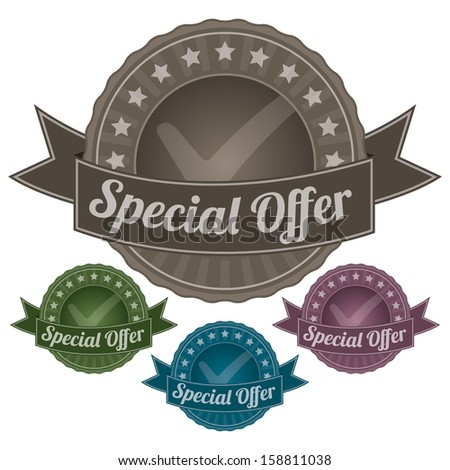 Graphic For Marketing Campaign, Promotion or Sale Event Present By Colorful Vintage Style Special Offer Icon or Badge Isolated on White Background  - stock photo