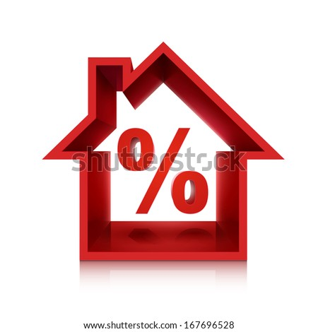 graphic for real estate business, 3d percentage isolated on white background  - stock photo