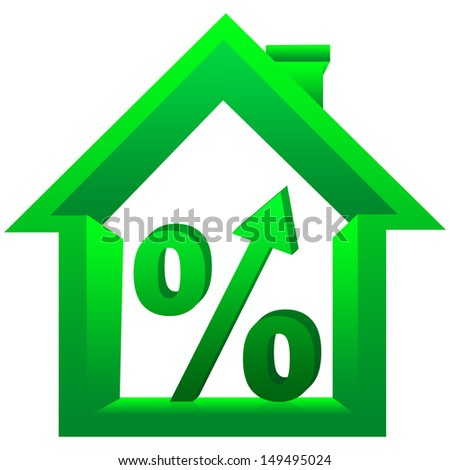 Graphic For Real Estate Business, 3D Percentage With Arrow Head Inside The Green House Isolated On a White Background  - stock photo