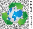Graphic For Save The Earth or Stop Global Warming Concept Present By Blue World and Green Recycle Sign Around in Recycle Label Background - stock photo