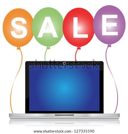 Graphic For Special Promotion Campaign, Colorful Sale Balloons With Blank Computer Laptop You Can Type Your Own Message on The Screen Isolated on White Background - stock photo