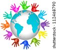 Graphic For Volunteer Concept Present By The Colorful Adult Hands With Small Children Hand Inside Around The Earth Isolated on White Background - stock photo