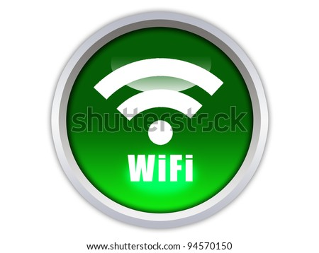 graphic glossy wifi icon on green button - stock photo