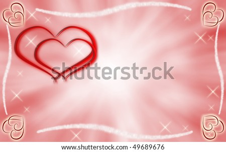 Graphic hearts with starry border - stock photo