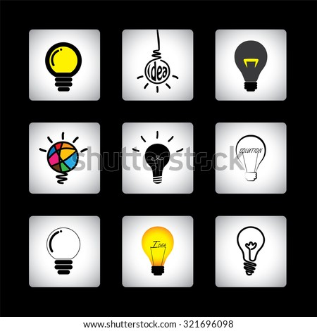 graphic icons set of different idea light bulbs on black background. This graphic can also represent genius, cleverness, providing solution, solving problems, intelligence, smartness, innovation - stock photo